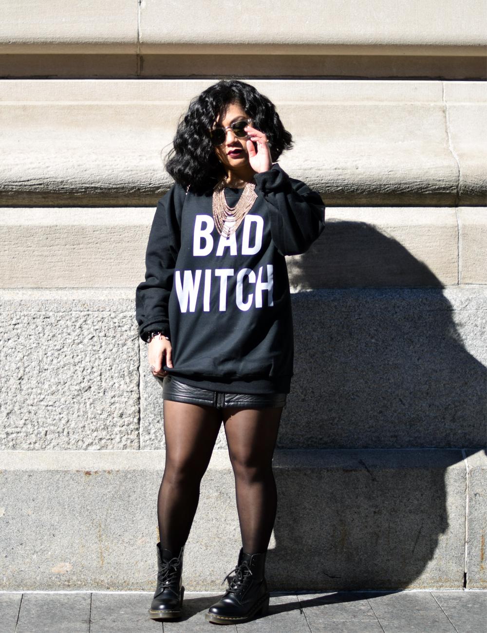 TeesAndThankYou Bad Witch Crewneck