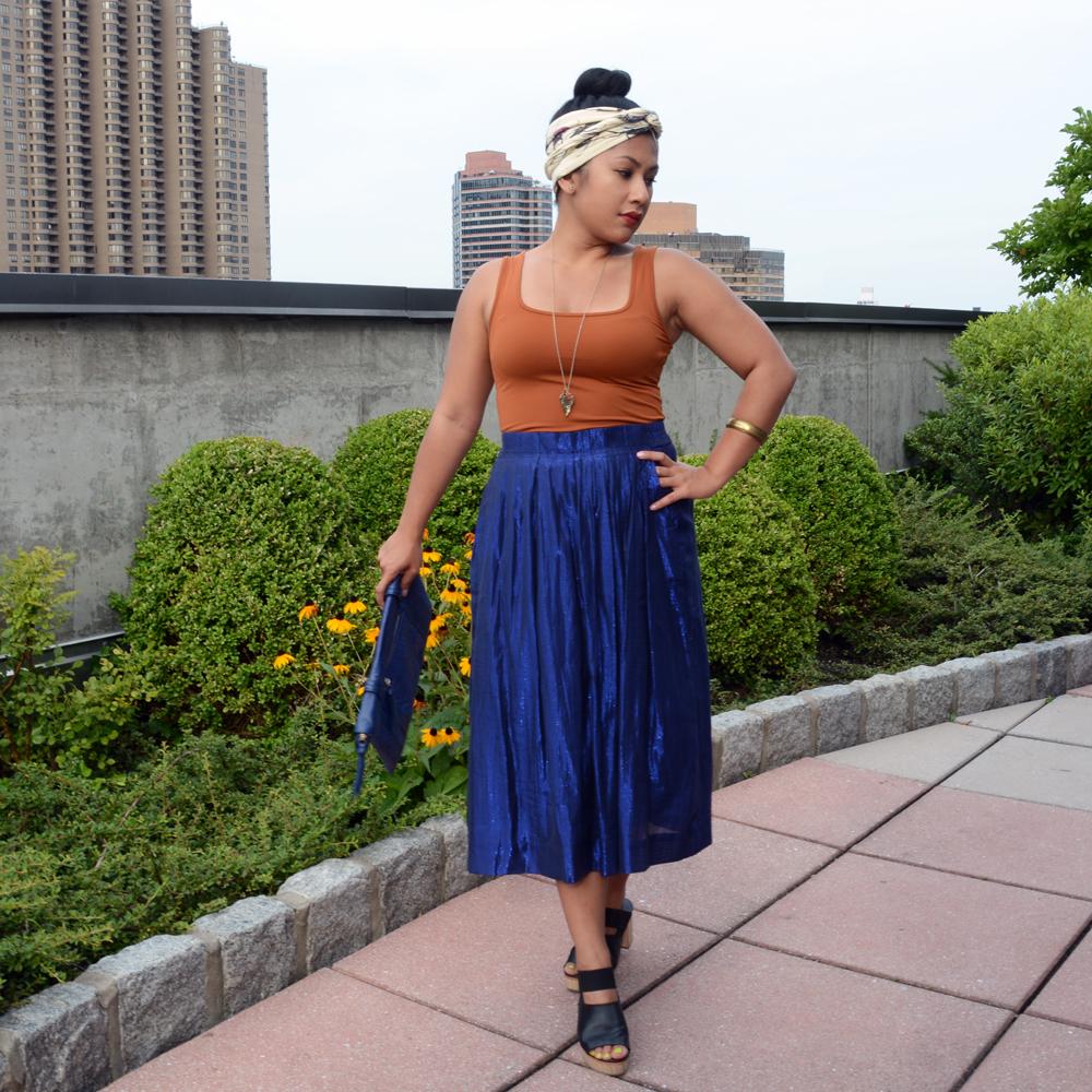 J. Crew pleated midi skirt in metallic voile