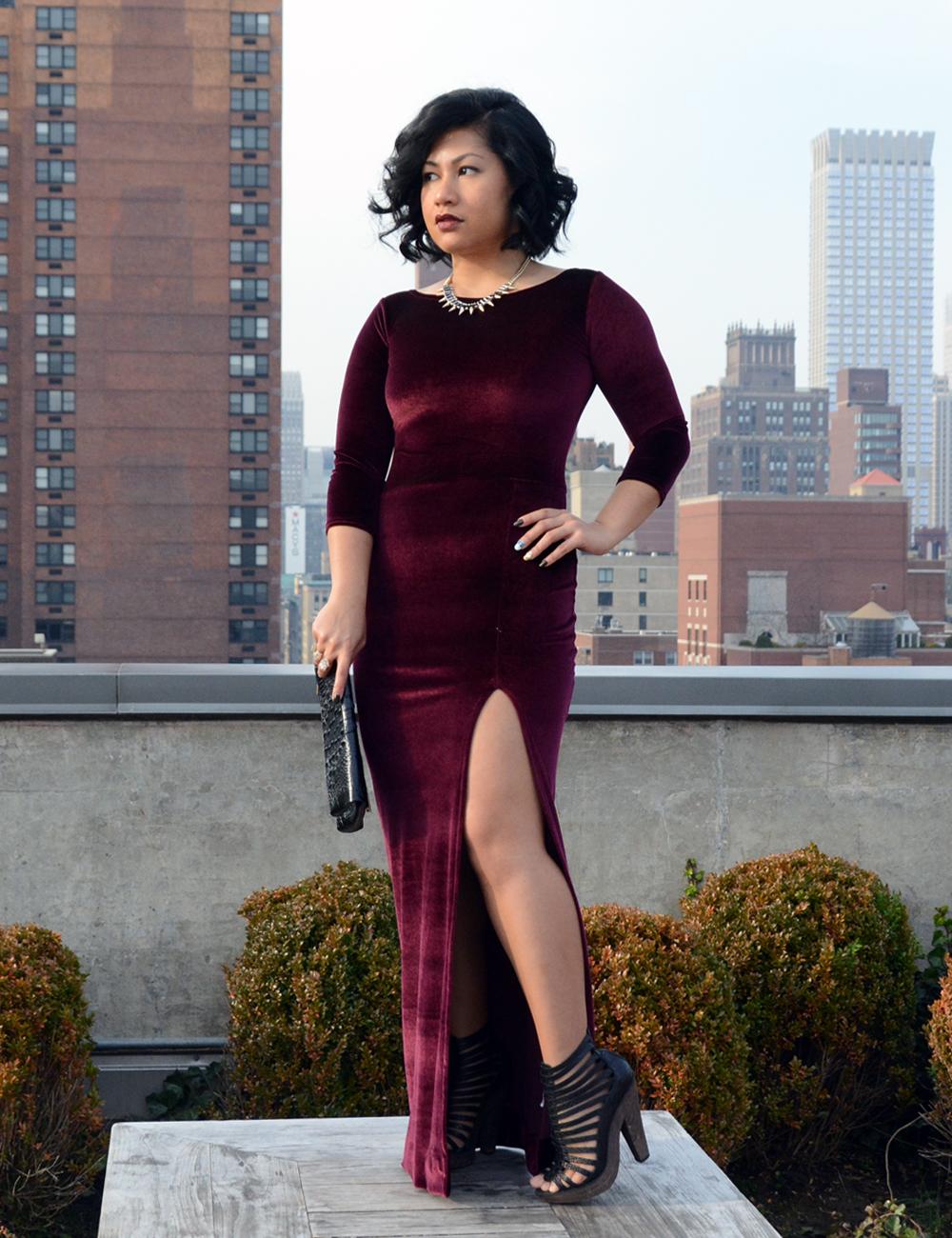 Boohoo Kelly Velvet Long Sleeve Maxi Dress