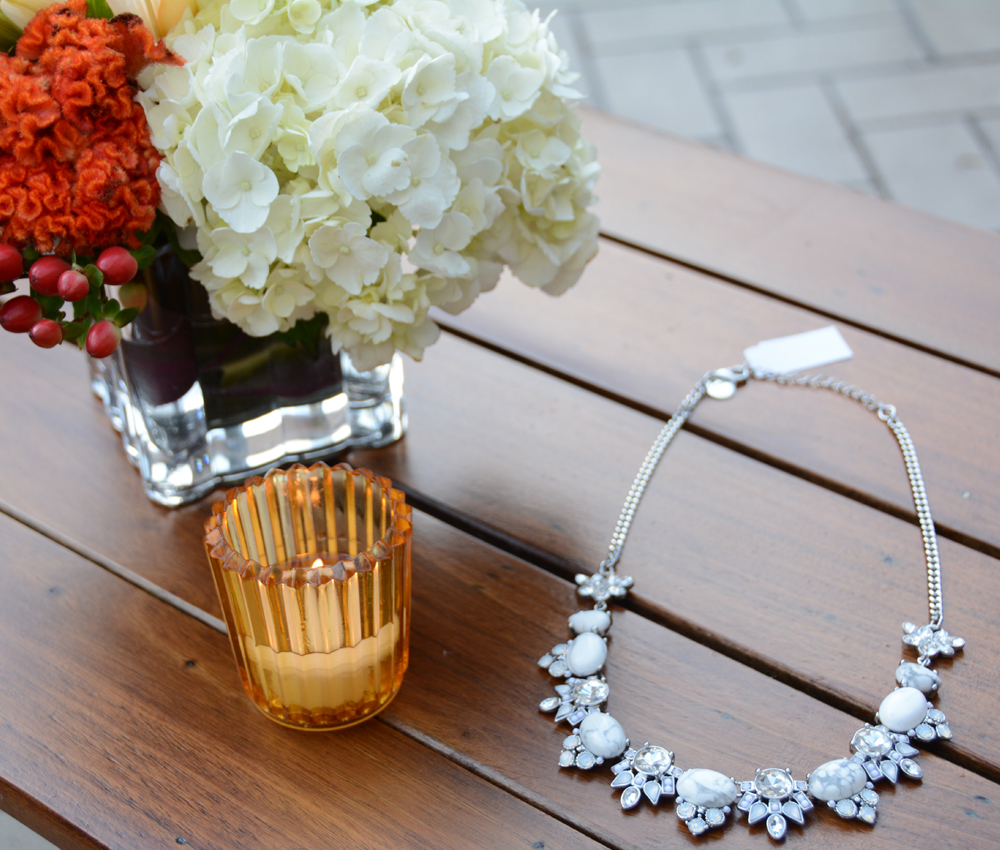 Capwell Co White And Crystal Stone Cluster Necklace