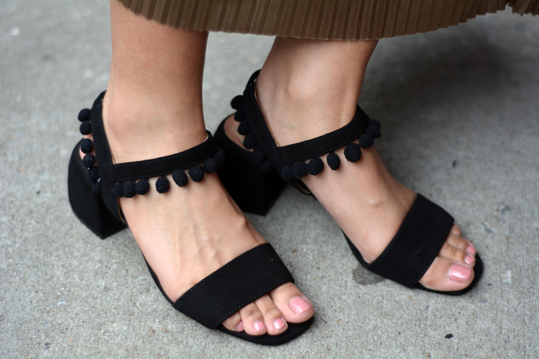 Zara leather mid heel pompom sandals