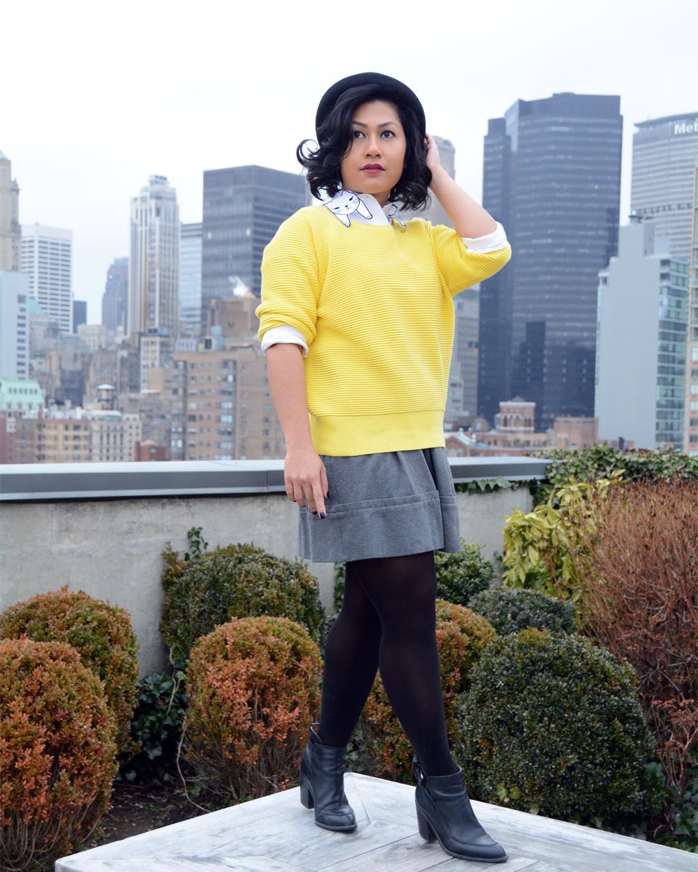 Choies White Cat Pattern Collar Pocket Detail Long Sleeve Shirt