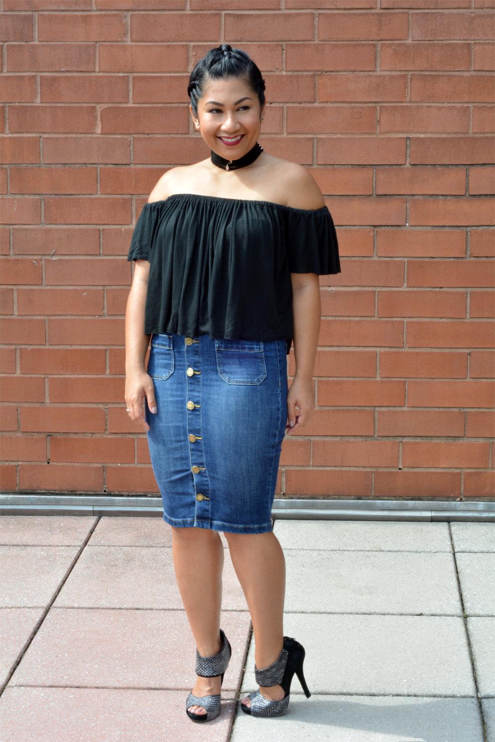 The Limited Button Front Denim Pencil Skirt