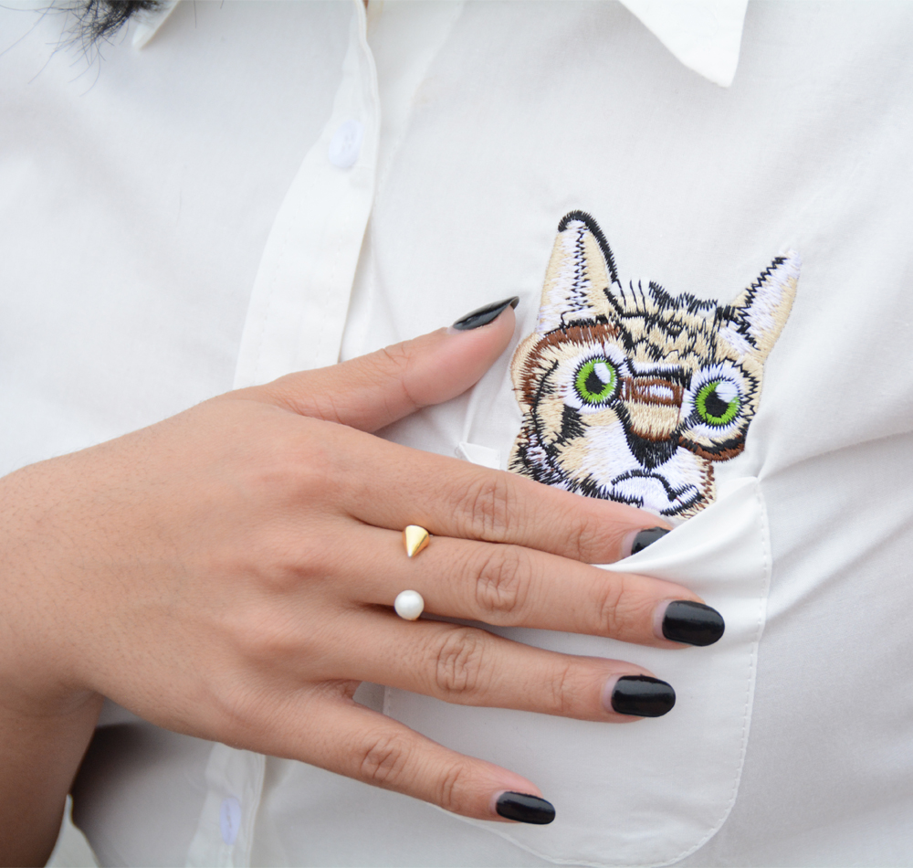 Choies White Embroidery Cat Pattern Pocket Detail Shirt