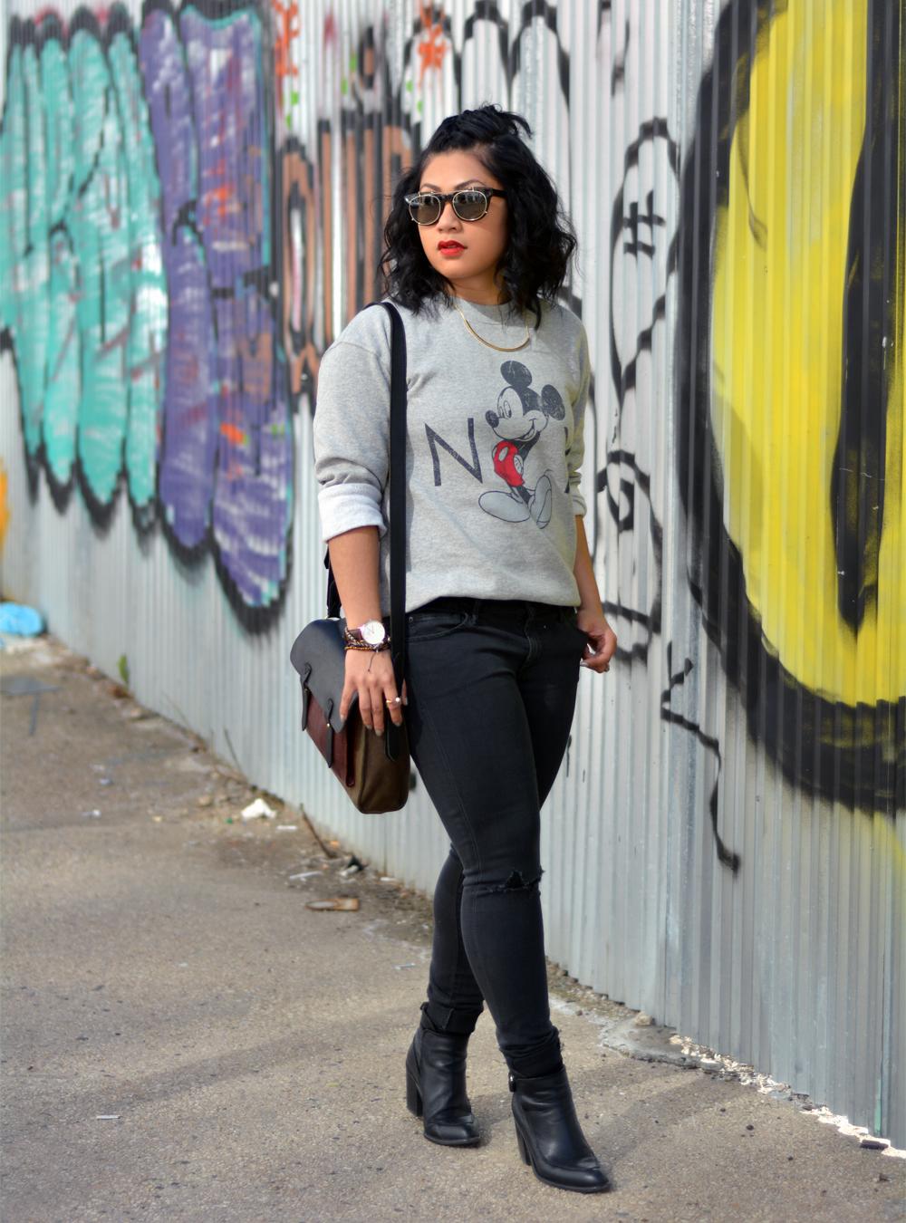 Topshop Vintage Mickey Mouse Sweatshirt