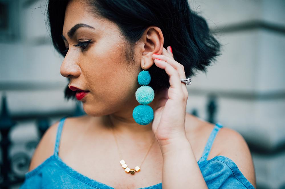 Thrifted pom earrings