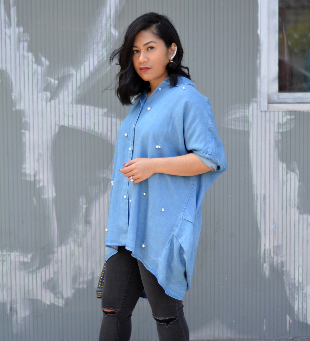 Zara flowing shirt with pearly appliqués