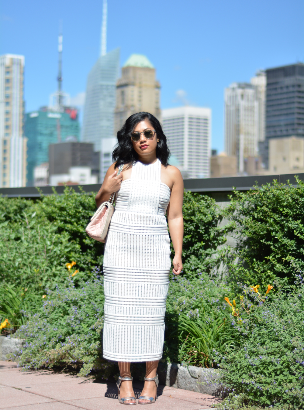 Striped Honeycomb-Mesh Midi Dress