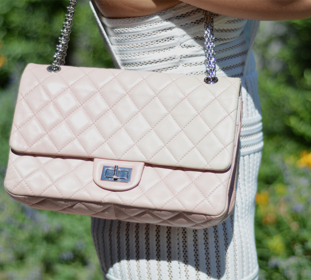 Chanel Pink White Leather Ombre Degradé