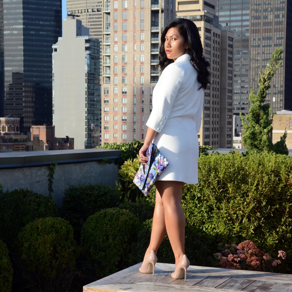 SheInside White Lapel Asymmetric Zipper Dress